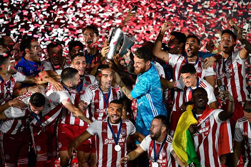 Olympiacos celebrate their 45th championship
